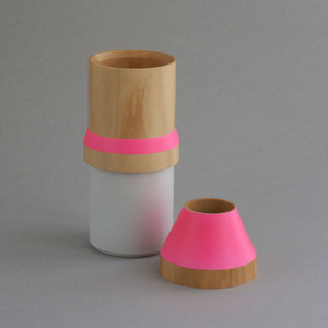 wood and ceramic stacking vase -pink