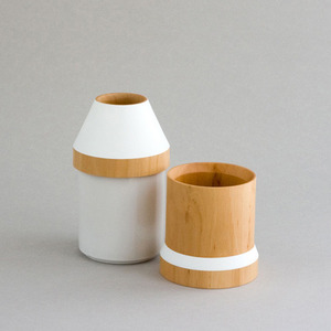 wood and ceramic stacking vase -white