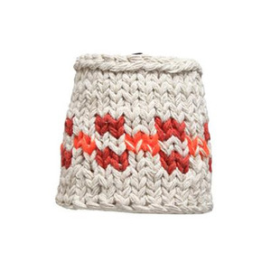 Handknitted cotton lamp orange check (20% sale)