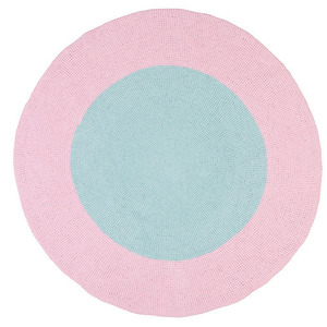 Aqua and Pink Bullseye Rug