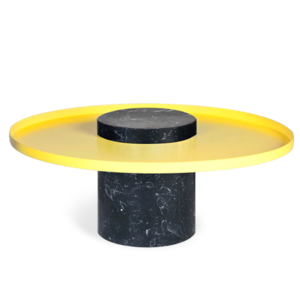 Salute Low Black Marble Yellow Tray