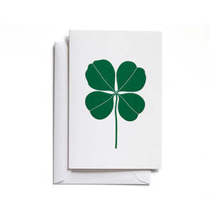Greeting Card Medium Four Leaf Clover Green