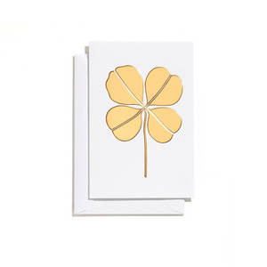 Greeting Card Small Four Leaf Clover Gold