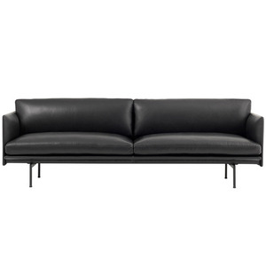 Outline Sofa 3-Seater Silk Leather Black