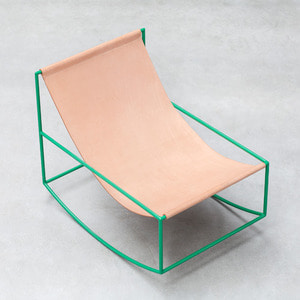 First Rocking Chair Green Frame/Leather