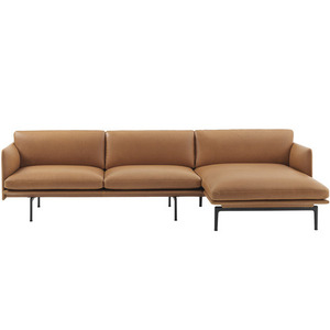 Outline Sofa Chaise Longue  Refine Leather/Black Base
