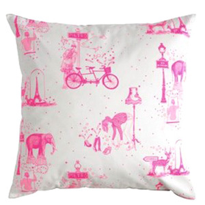 Cushion toile de Jouy neon pink - 30% sale