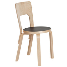 Chair 66 Black Linoleum/Birch