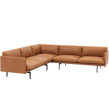 Outline Corner Sofa Silk leather Cognac