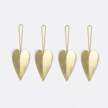 Heart Brass Ornament Set of 4