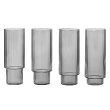 Ripple Long Drink Glasses Set of 4 Smoked Grey  현 재고
