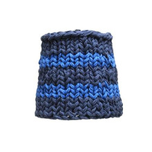 Handknitted cotton lamp blue squares (20% sale)