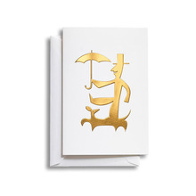 Greeting Card Medium Man with Umbrella