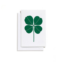 Greeting Card Small Four Leaf Clover Green