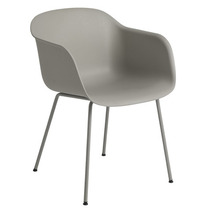 Fiber Armchair Tube Base Grey