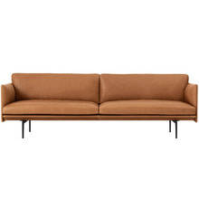 Outline Sofa 3-Seater Silk Leather Cognac