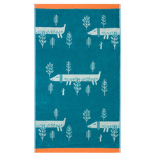 Sausage Dog Bath Towel Blue