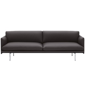 Outline Sofa 3-Seater Easy Leather  Root/Polished Aluminum Base