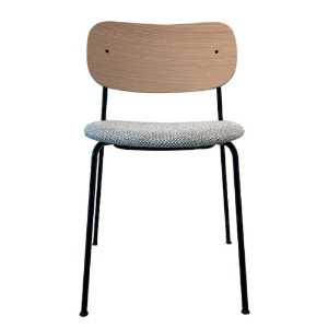 Co Chair Upholstered Seat  Black Steel/Natural Oak/Colline