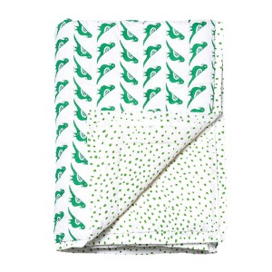 Reversible Quilted Bed Cover Green Birds 150x220cm