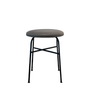 Afteroom Stool Upholstered Seat  Black Steel/Dakar Leather 현 재고