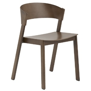 Cover Side Chair Wooden Seat Stained Dark Brown