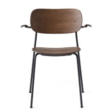 Co Chair With Armrest Black Steel/Dark Stained Oak