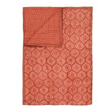 Reversible Quilted Bed Cover Red Kalam 150x220cm